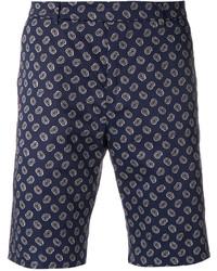 Pantalones cortos de algodón de paisley azul marino de Paul Smith