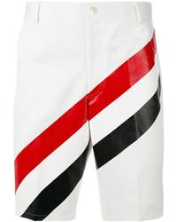 Pantalones cortos de algodón de rayas horizontales blancos de Thom Browne