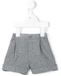 Pantalones cortos de algodón de rayas verticales grises de Il Gufo