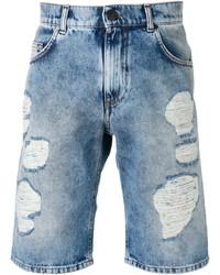 Pantalones cortos de algodón desgastados celestes de Versace