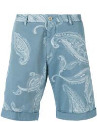 Pantalones cortos de algodón estampados celestes de Etro