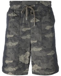 Pantalones Cortos de Algodón Estampados en Gris Oscuro de Helmut Lang