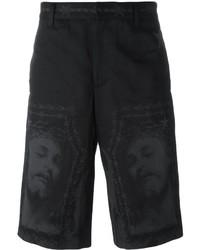 Pantalones cortos de algodón estampados negros de Givenchy