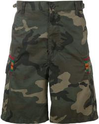 Pantalones cortos de algodón estampados verde oscuro de Facetasm
