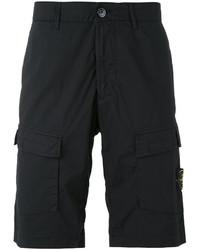 Pantalones cortos de algodón negros de Stone Island