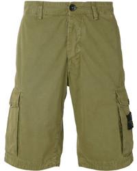 Pantalones cortos de algodón verde oliva de Stone Island