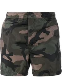 Pantalones cortos de camuflaje verde oscuro