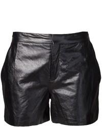 Pantalones cortos de cuero negros de Theyskens' Theory