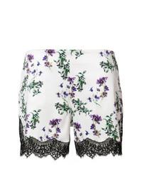 Pantalones cortos de encaje con print de flores blancos de Blumarine