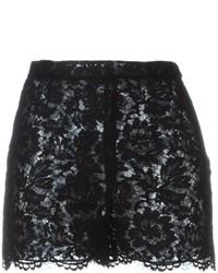 Pantalones cortos de encaje negros de Valentino