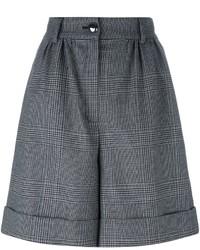 Pantalones cortos de lana a cuadros negros de Dolce & Gabbana