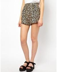 Pantalones cortos de leopardo marrón claro