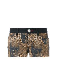 Pantalones cortos de leopardo negros de Philipp Plein