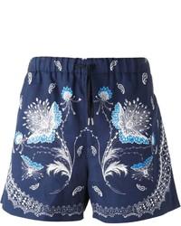 Pantalones cortos de paisley azul marino de Alexander McQueen