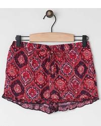 Pantalones cortos de paisley rojos