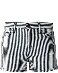 Pantalones cortos de rayas verticales en blanco y azul marino de Theory