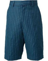 Pantalones Cortos de Rayas Verticales en Verde Azulado de UMIT BENAN