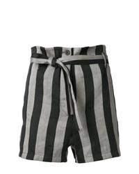 Pantalones cortos de rayas verticales grises de Ann Demeulemeester