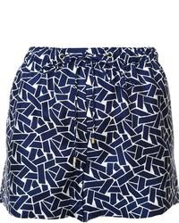 Pantalones cortos de seda con estampado geométrico azul marino de Diane von Furstenberg