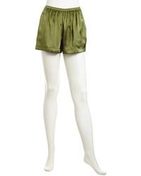 Pantalones cortos de seda verde oliva