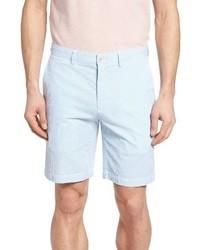 Pantalones cortos de seersucker de rayas verticales celestes