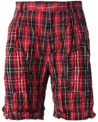 Pantalones cortos de tartán rojos de McQ by Alexander McQueen