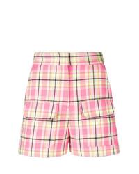 Pantalones cortos de tartán rosados de MSGM