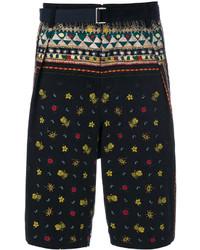 Pantalones cortos estampados azul marino de Sacai