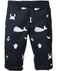 Pantalones cortos estampados azul marino de Thom Browne