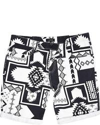 Pantalones cortos estampados en blanco y negro