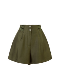 Pantalones cortos plisados verde oliva de Fleur Du Mal