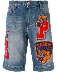 Pantalones cortos vaqueros bordados azules de Philipp Plein