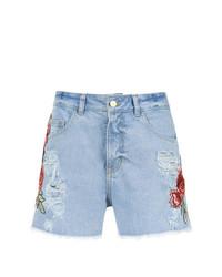 Pantalones cortos vaqueros bordados celestes de Martha Medeiros