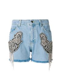 Pantalones cortos vaqueros con adornos celestes de Marco Bologna