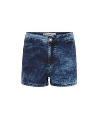 Pantalones cortos vaqueros con lavado ácido azules