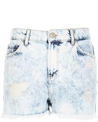 Pantalones cortos vaqueros con lavado ácido celestes
