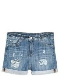 Pantalones cortos vaqueros desgastados azules