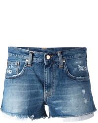 Pantalones cortos vaqueros desgastados azules de (+) People