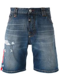 Pantalones cortos vaqueros desgastados azules de Philipp Plein