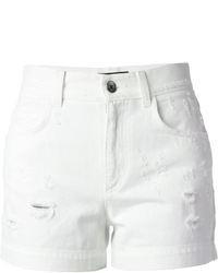 Pantalones cortos vaqueros desgastados blancos de Dolce & Gabbana