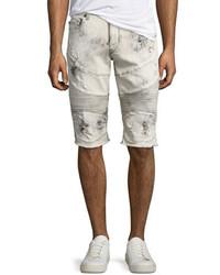 Pantalones cortos vaqueros desgastados en beige