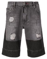 Pantalones cortos vaqueros desgastados en gris oscuro de Philipp Plein