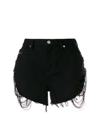 Pantalones Cortos Vaqueros Desgastados Negros de Diesel