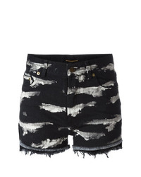 Pantalones Cortos Vaqueros Estampados Negros de Saint Laurent