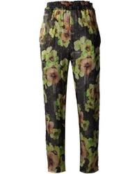Pantalones de pijama con print de flores negros de Isabel Marant
