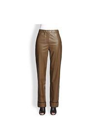 Pantalones de pijama de cuero marrónes