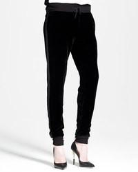 Pantalones de pijama de terciopelo negros