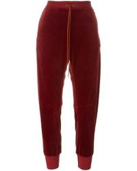 Pantalones de terciopelo burdeos de Chloé