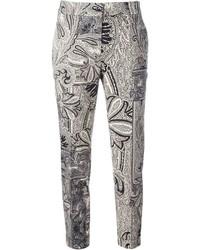 Pantalones estampados grises de Etro