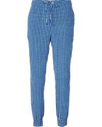 Pantalones pitillo a cuadros en blanco y azul de Armani Jeans